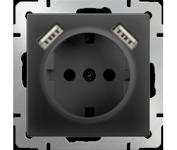 Werkel Розетка 1-ая с заземлением, шторками и USB х2 чёрная